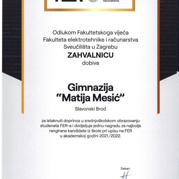 Zahvalnica Gimnaziji Matija Mesić kao potvrda kvalitetnog rada