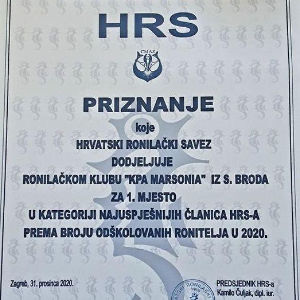 Priznanje za KPA Marsonia od Hrvatskog ronilačkog saveza